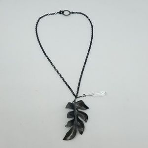 Fire from heaven gunmetal leaf necklace new